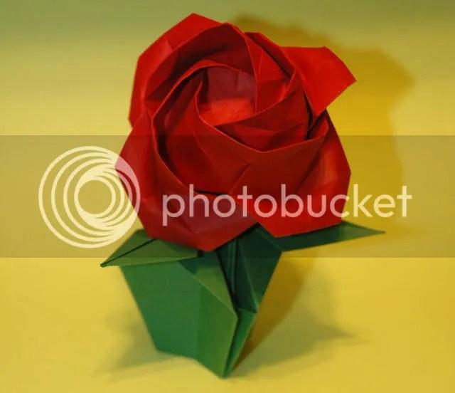 Origami de Vaso e Rosa Kawasaki