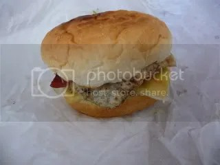 The burger waiting for its dissection