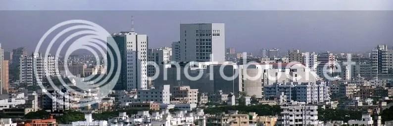 A panoramic view of downtown Dhaka, Bangladesh