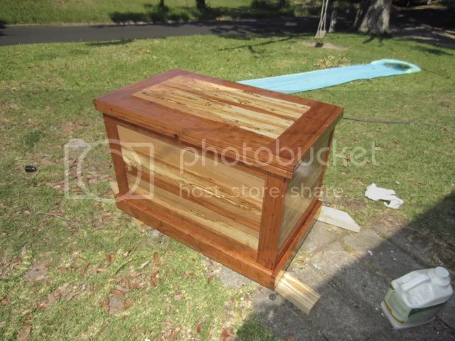 """Tool chest built from quarter-sawn cherry and spalted pecan.  The chest is approximately 34"""" wide, 22"""" tall, and 20"""" deep.  It is finished with hand-rubbed Danish oil."""