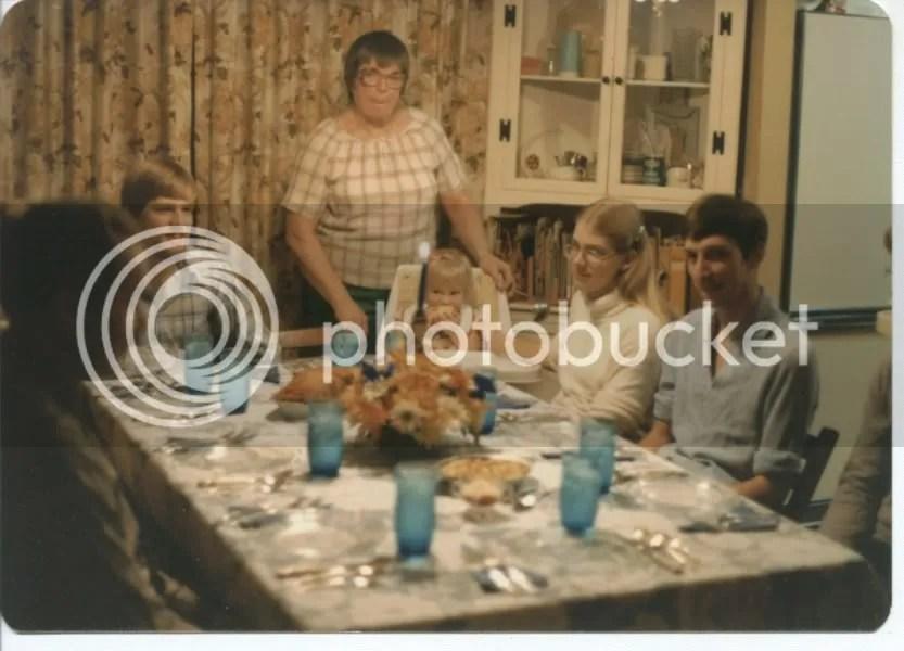Aldine presiding over the Thanksgiving table, 1976