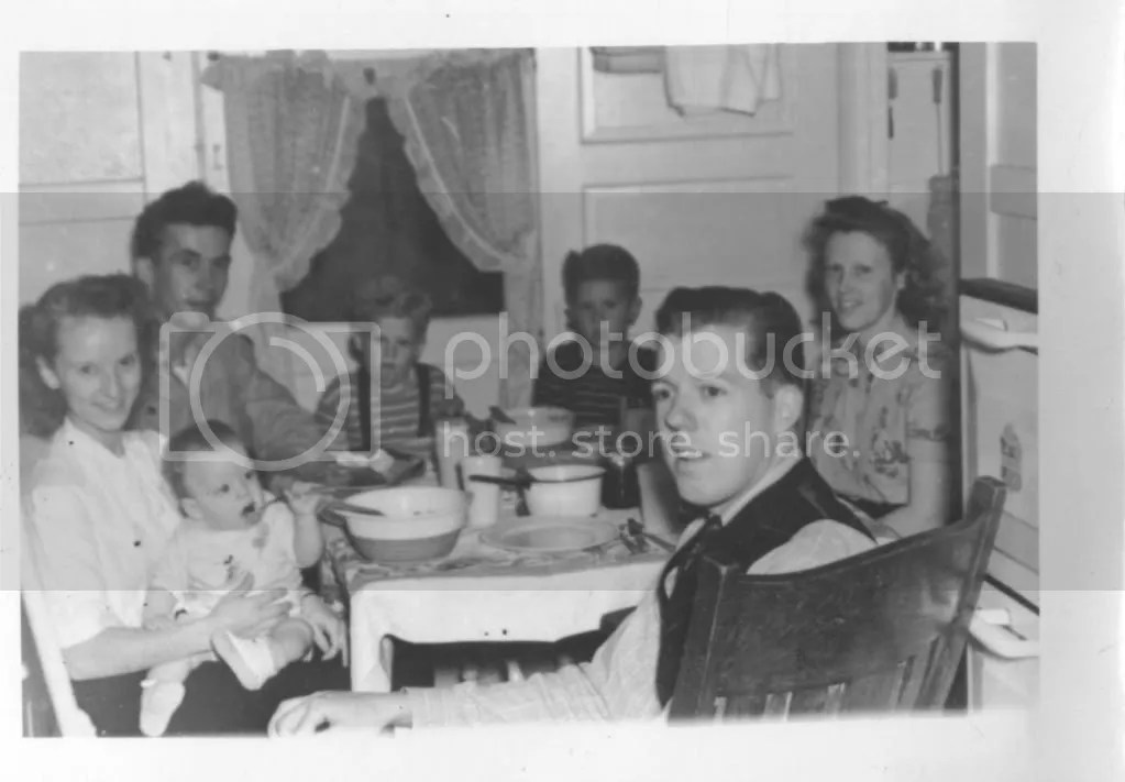 Earl, Jane, and son Michael at the Gillilan home, Long Beach, California, about 1946