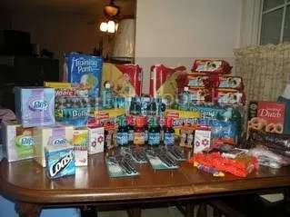 FREE niquil, playskool diapers and wipes, pull ups, candy, puffs tissues, colgate toothpaste, razors, water, and more