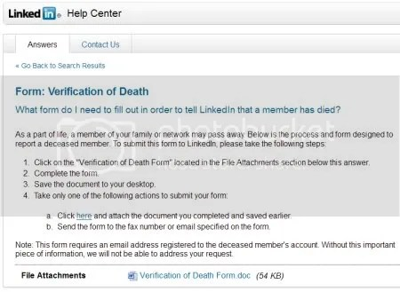 LinkedIn help screenshot of the process to report a deceased member