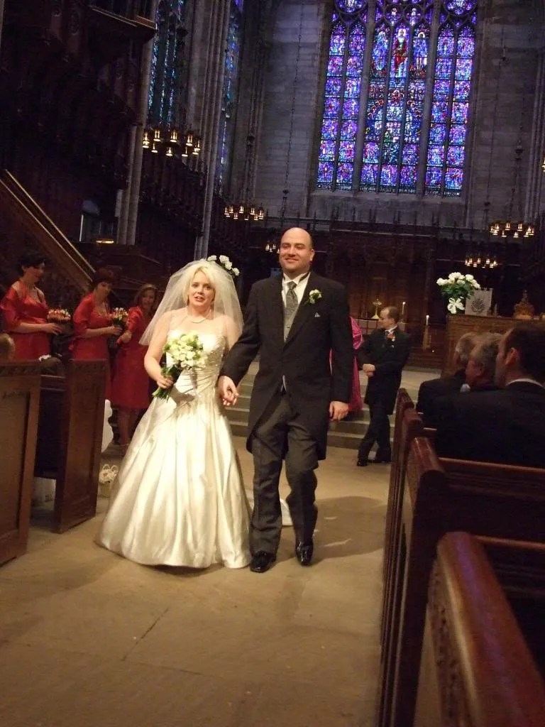 The bride and groom, happily married.