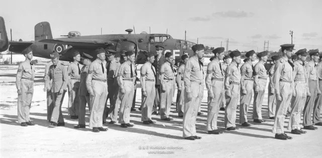 Czechoslovak airmen of 111 OTU being inspected by the Duke of Windsor.