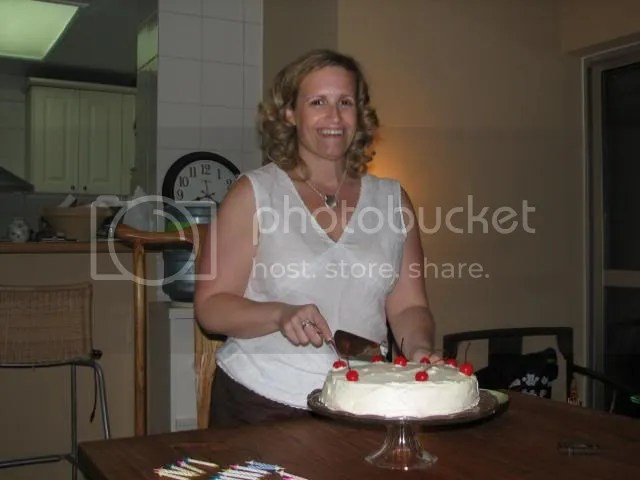 Donna showing off Aaron's cherry birthday cake!
