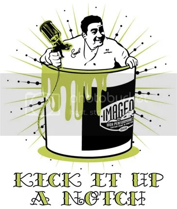 """KICK IT UP A NOTCH"" is a catchphrase made famous by the celebrity chef, Emeril Lagasse. Image One thought their approach to laying paint and graphics related to this phrase so the idea was hatched to create an illustration combining the skills of a painter with that of a famous chef."