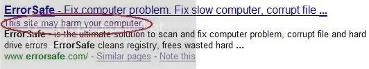 ErrorSafe Google warning