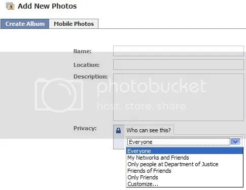 Facebook Create Album Privacy Settings
