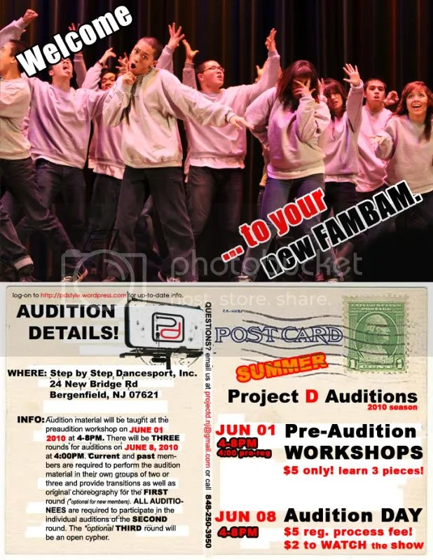 SUMMER 2010 AUDITION FLYER for PROJECT D