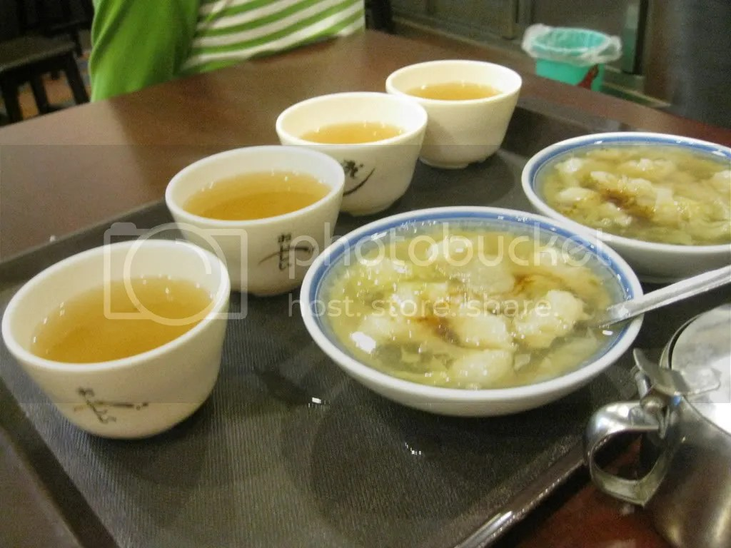 Fish Soup (kind of sweet) and this type of soup which is like tea - unlimited refills.