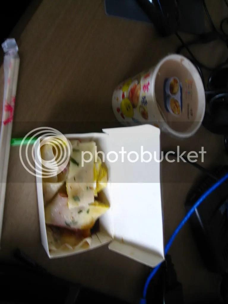 Bacon Egg Roll and Milk Tea (Warm) $2AUD :(..
