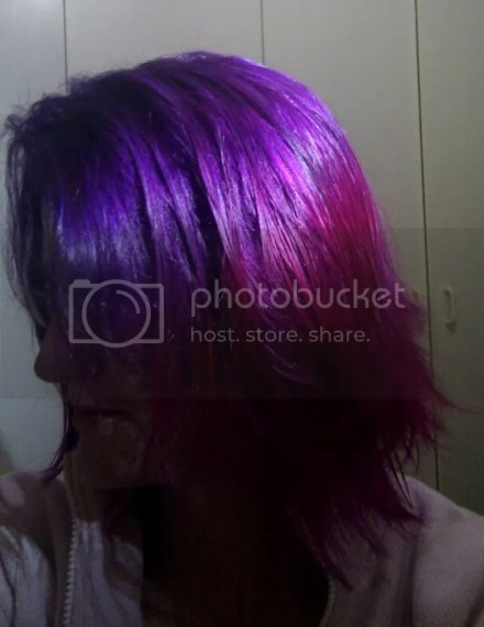 Purple hair pink tips