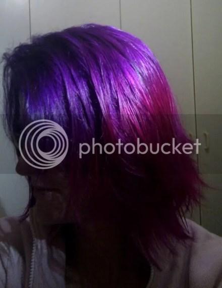 Purple hair pink tips