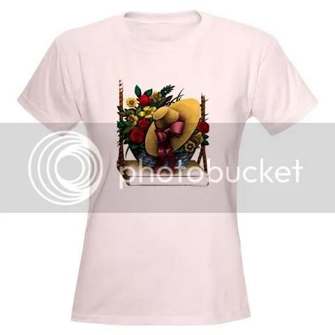 Flower Basket w/Hat Women's Pink T-Shirt