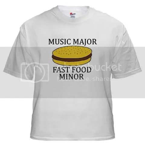 Music Major Fast Food Minor White T-Shirt