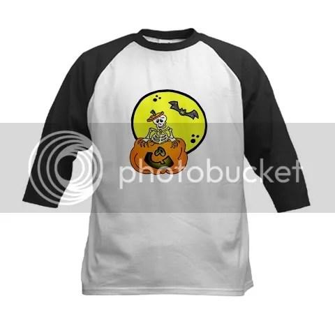 Skeleton & Jack-o-lantern Kids Baseball Jersey