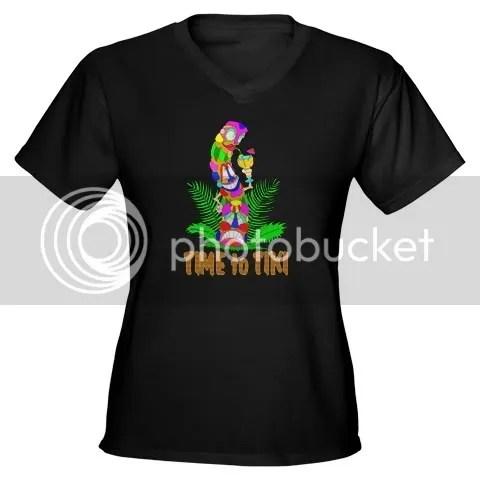 TIME to TIKI Women's V-Neck Dark T-Shirt