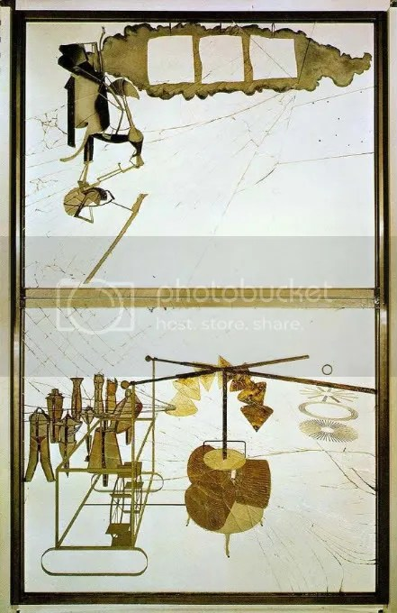 Duchamps The Bride Stripped Bare By Her Bachelors Even (The Large Glass) (1915-23)
