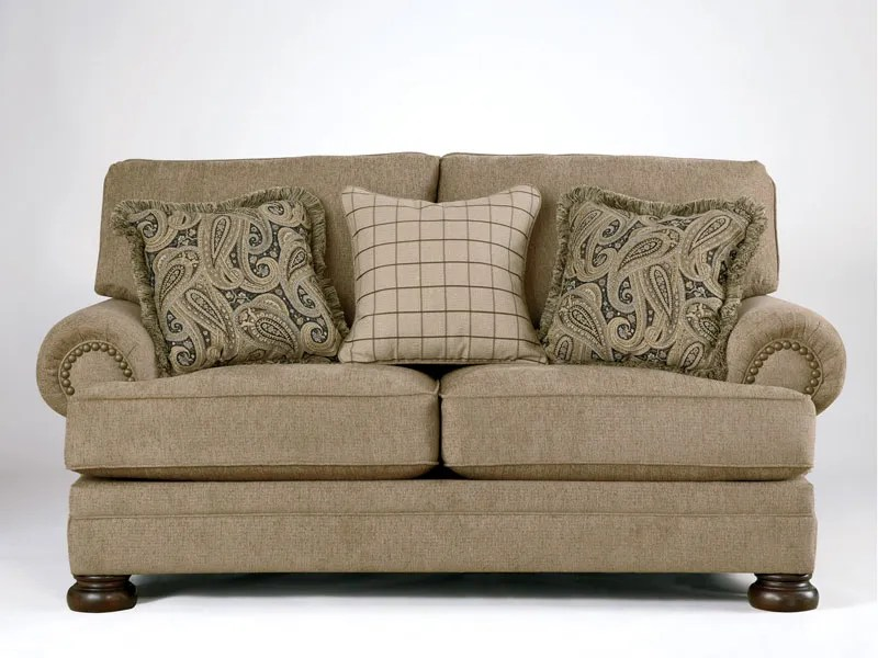 TRADITIONAL TAN OVERSIZED CHENILLE SOFA COUCH SET