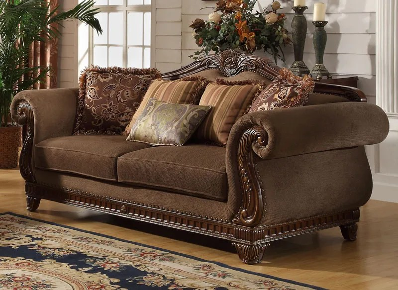 Odessa-Traditional Brown Wood Trim Chenille Sofa Couch