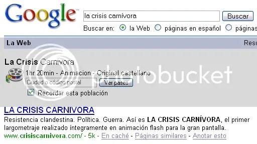 Cartelera en Google