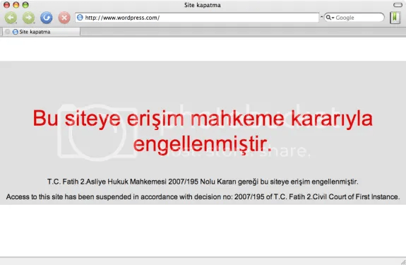 Wordpress.com bloqueado en Turquia