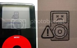 cross-stitched dead ipod