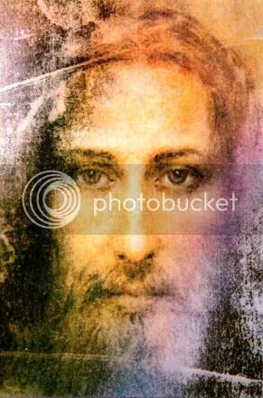 foto gravura do Cristo recriado por Sai Baba a partir do Santosudário