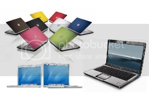 HP, Dell and Apple laptops