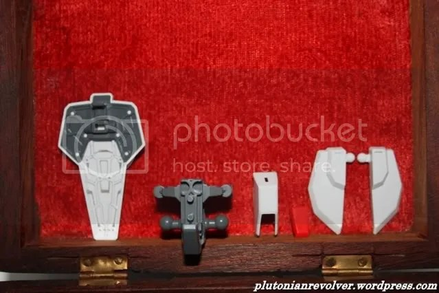 From left to right: Completed lower body armour, inner skeleton of lower body, and pieces for constructing the front skirts and armour pieces to put on