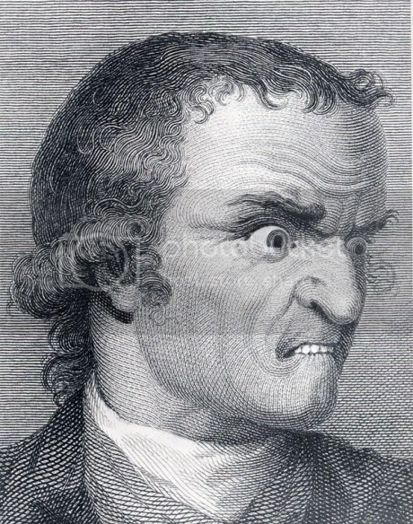 "Johann Casper Lavater, ""raiva""do Essays on Physiognomy, 1792, gravura de J.Hogg, segundo Chodowiedki"