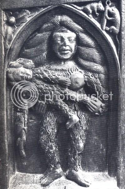 mulher selvagem com filho, cadeiral da igreja de Saint Martin, Ambierle, séc. XV