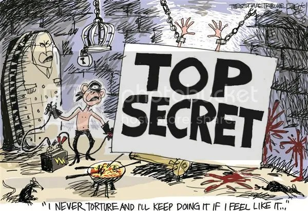 Bush and torture, cartoon