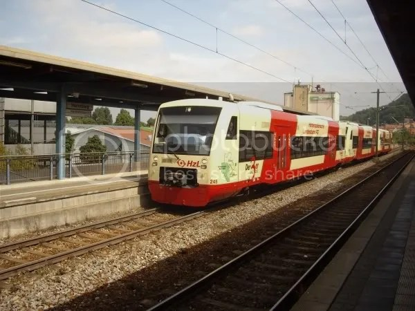 Normal HzL Railcars in Herrenberg. Sept 2008