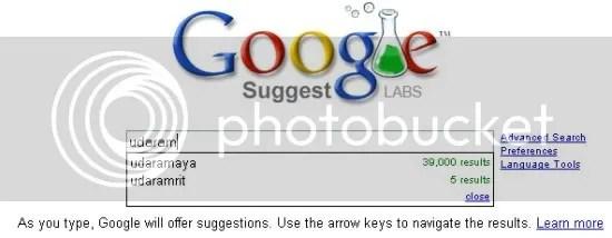 Google Suggest di halaman utama Google