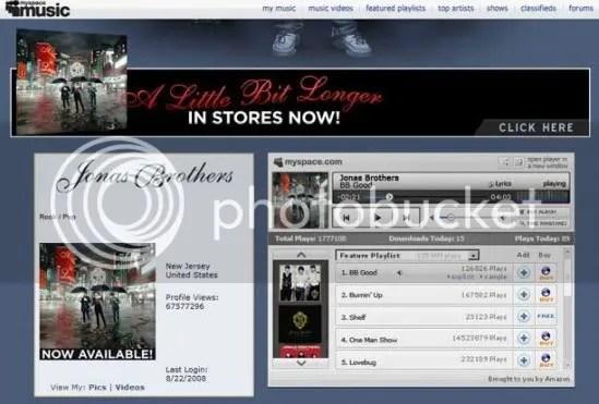 Screenshot MySpace Music