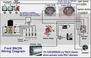 8n front mount wiring diagram with 12 volt conv  Ford 9N