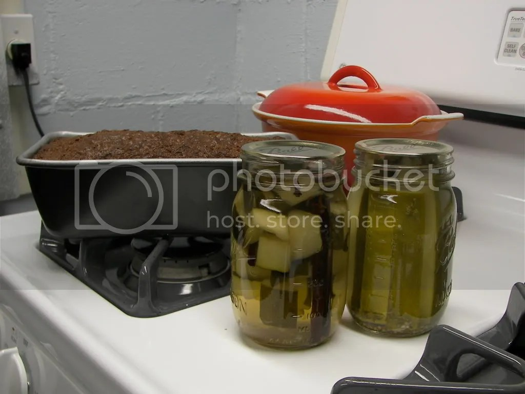 Zucchini bread, sweet pickles, dill pickles