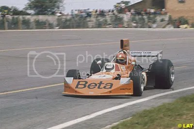 March 741 Ford of Vittorio Brabilla at the Brazilian Grand Prix in the 1970s.