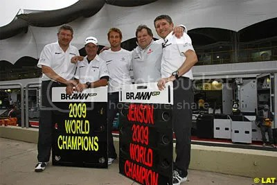 Haug was quick to celebrate with Brawn in Brazil, fuelling rumours of today's announcement