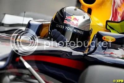 Sebastian Vettel behind the wheel of a Red Bull