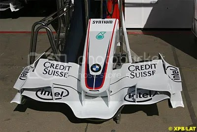 Credit Suisse sponsorship clear on the nosecone of the BMW