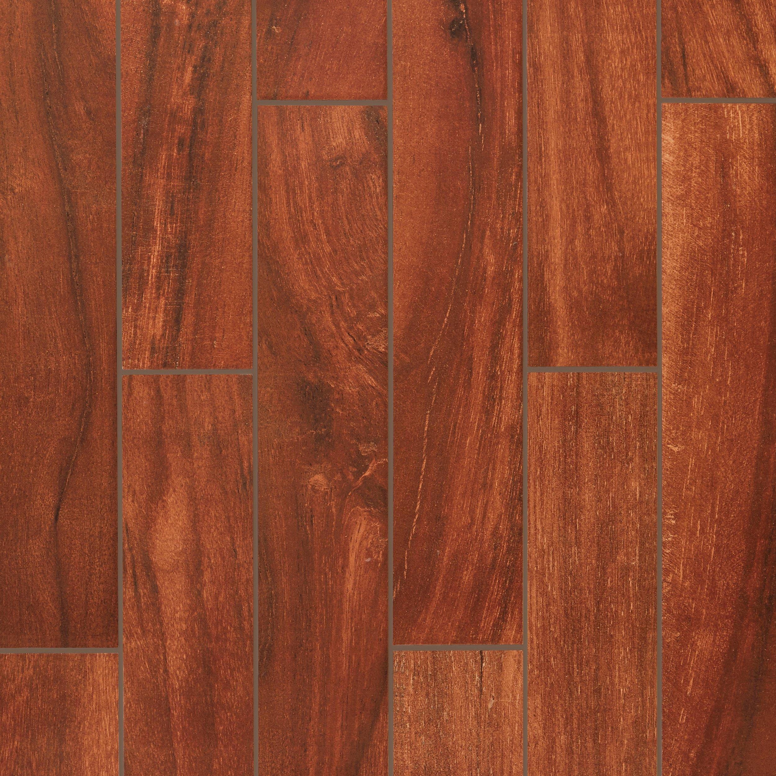 Cottage Grove Red Wood Plank Porcelain Tile 6in X 36in