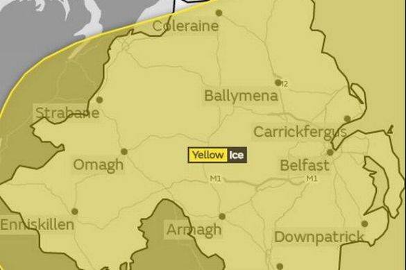 Met Office issue yellow weather warning for ice in Northern Ireland     Met Office issue yellow weather warning for ice in Northern Ireland
