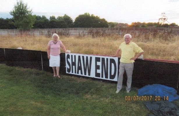 Lynn and Bill following the unveiling of The Shaw End at Walsall Wood Football Club