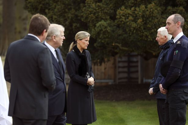 The Duke of York (second left) and the Countess of Wessex talk with Crown Estate staff as they attend the Sunday service