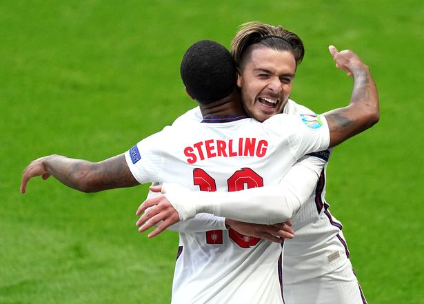 Jack Grealish celebrates with Raheem Sterling after combining for England's opening goal against the Czech Republic