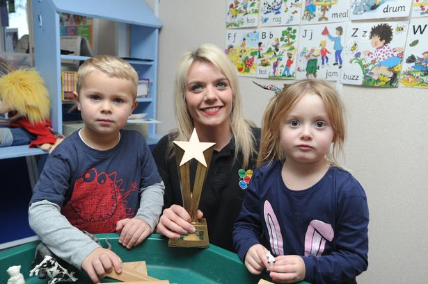 Keeley Skipp from Haverhill who works at Stepping Stones Preschool has recently won an award for overcoming adversity at the ONE Haverhill awards, Keeley is pictured with Harvey and Harper both 4